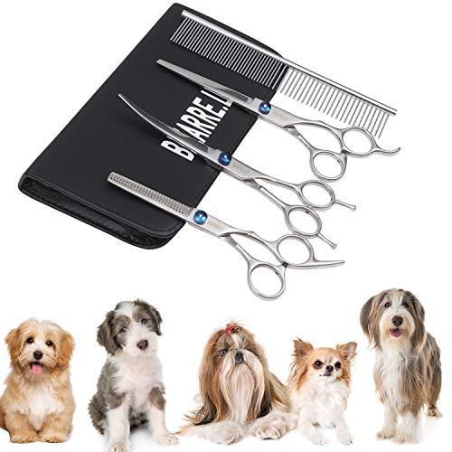 BIZARRE.LY 4 Piezas Kit de Peluquería Canina Perros y Gatos -Tijeras de Mascotas Incluye Acero Inoxidable Tijeras Curvas, Tijeras de Recorte y Peine
