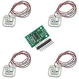 ICQUANZX 4 Pezzi 50 kg cella di carico Bilancia pesapersone sensore semiponte/Amplificatore con 1 modulo HX711 A/D per Arduino