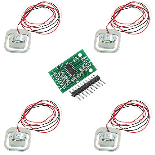 ICQUANZX 4Pcs 50kg Sensor de Peso del Peso de la báscula del Cuerpo de la celda de Carga Half-Bridge/Amplificador con 1pcs HX711 Módulo A/D para Arduino