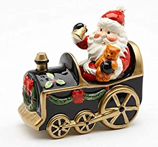 Fine Ceramic Christmas Holidays Santa Claus Holding Teddy Bear and Ringing Bell Conducting Train Salt & Pepper Shakers Set, 4