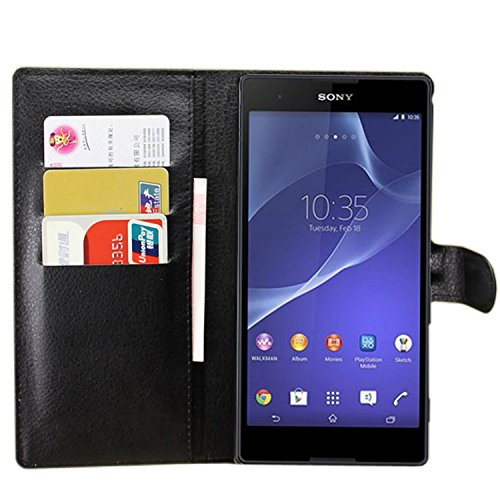 Ycloud Tasche für Sony Xperia T2 Ultra (6 Zoll) Hülle, PU Ledertasche Flip Cover Wallet Hülle Handyhülle mit Stand Function Credit Card Slots Bookstyle Purse Design schwarz