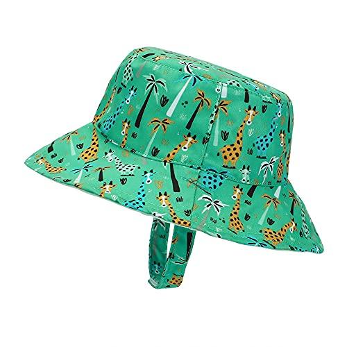 MASOCIO Sonnenhut Baby Kinder Sommermütze Mädchen Junge Mütze Reversibel Sommerhut Alter 3-6 Jahre Giraffe Grün