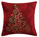 Peking Handicraft Christmas Tree Embroided Pillow, Multicolored