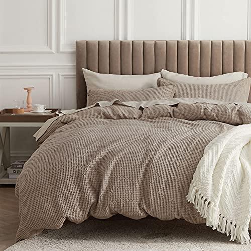 Bedsure 100% Cotton Waffle Weave Duvet Cover Set King Size, 3 Pieces...