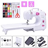 Portable Electric Sewing Machine, 16 Built-in Stitches Mini Beginners Sew Machines with Expansion Table and 42-Pieces sewing kit for Adult Kids Girls Household Embroidery Tool with Foot Pedal Led Light