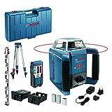 Bosch Professional - Nivel láser giratorio GRL 400 H (uso con un solo botón, receptor LR 1, regla graduada GR 2400, trípode BT 152, alcance Ø: hasta 400m, en maletín), Negro, Azul