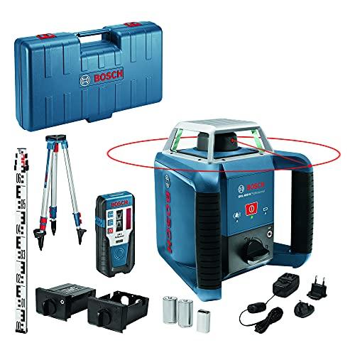 Bosch Professional 06159940JY Rotationslaser GRL H (EIN-Knopf-Bedienfeld, Laser-Empfänger LR 1, Nivellierlatte GR 2400, Stativ BT 152, max. Arbeitsbereich: 400 m, in Handwerkerkoffer), Blau