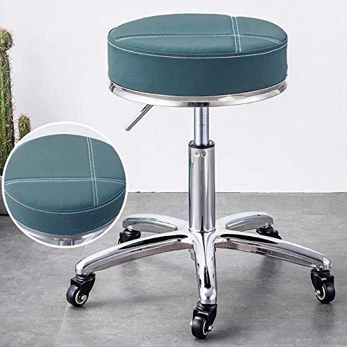 SXRDZ Giratoria Silla de oficina Taburete con ruedas, Estudio de heces con Red PU asiento de cuero sintético, con altura ajustable 45-58 cm, peso soportado 160 kg, ajustable Taburete giratorio de ofic