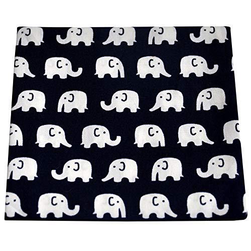 ultiMade - trendige Herren Damen Stofftaschentücher/Einstecktücher aus Baumwolle - Design Elefanten dunkelblau weiß