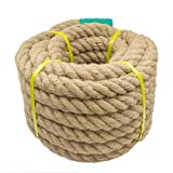 Aoneky Cuerda de Yute Natural - Cuerda de Cáñamo Trenzada para Bricolaje Barcos Tira y Afloja Artes Escalada Manualidades Decoración Jardinería Regalos, Cuerda Gorda Gruesa Resistente (30M × 22mm)