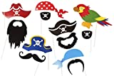 Générique - Pirate Party Photo Accessories - 12 Colorful Props on a Stick - Birthday Paty Photo Booth Props by Roxan
