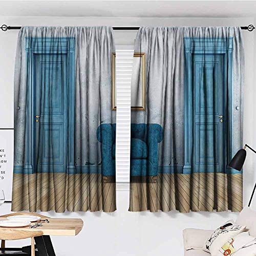 KAKKSW Bedroom Thermal Blackout Curtains, Blue Antique, Empty Room with Two Doors Armchair and Simple Mirror with Golden Color Frame, Sun Shade, 72