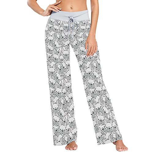 vvfelixl Women's Pajama Pants French Bulldog Sleepwear Lounge Pajama Bottoms White M