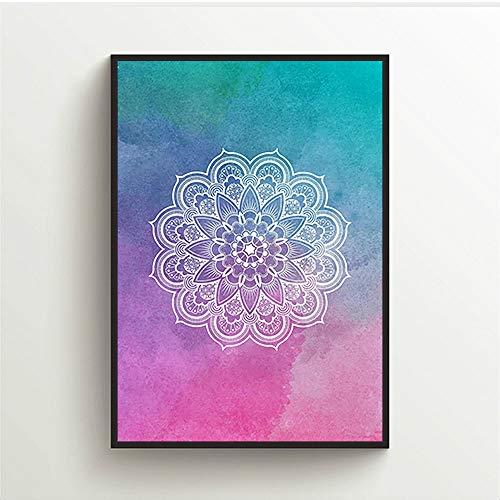Mandala Blumen Indische Leinwand Wandkunst Malerei Poster Bilddruck Wohnkultur 16X24inch-40x60cm