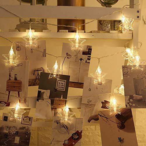 Luces LED de Cadena de Clip de Fotos, Cadena de Luces LED de Imagen de Clip, 20 Bombillas LED Luces de Hadas de Fotos Alimentadas por USB, Decoraciones de Dormitorio para Bodas de Fiesta (3m)