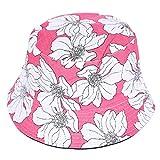 YUZI Mujeres Hombres Estilo Étnico Tropical Floral Impresión Algodón Cubo Sombrero Reversible Doble Cara Protector Solar Vacaciones Panamá Fisherman Cap sombreros para niños