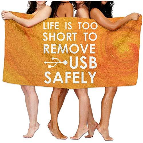chillChur-DD Bath Towel Das Leben von Bralla ist zu kurz, um EIN übergroßes Polyester-Batch-Handtuch mit USB-Sicherheit zu entfernen