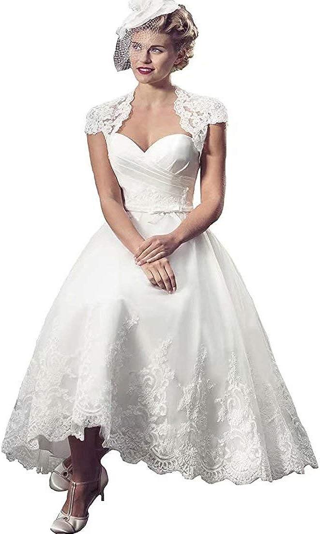 Yuxin Lace Vintage Sweetheart Appliques Tea Length Wedding Dress 2021 Short Cap Sleeves A line Bridal Gown