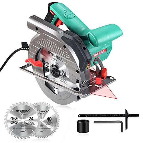Circular Saw, 1500W HYCHIKA Electric Saw with Speed 4700RPM, Laser Guide, 24T/40T Blades(190mm), Max Cutting Depth: 90°: 65mm/45°: 45mm, Safety Switch, Pure Copper Motor, Dust Extraction
