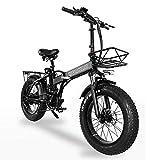 Bicicleta Eléctrica Plegable GW20 500w 20 Pulgadas, Neumático De Grasa 4.0, Potente Batería De Litio De 48v 15ah, Bicicleta De Nieve, Bicicleta Asistida