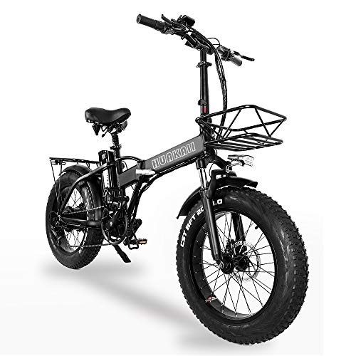 GW20 500W 20 Inch Electric Folding Bike, 4.0 Fat Tire, 48V 15AH Powerful Lithium Battery, Snow Bike, Power Assist Bicycle