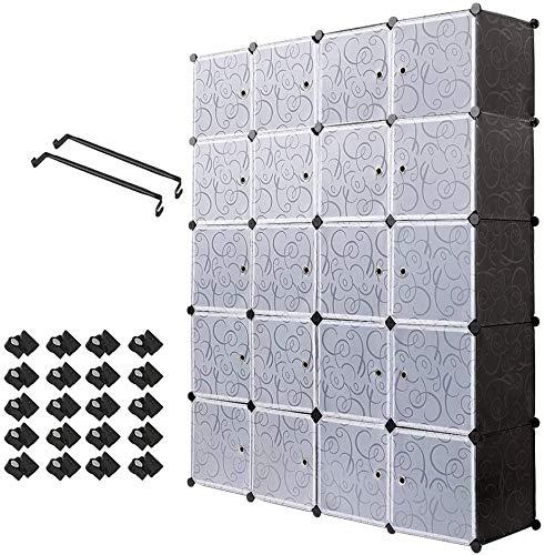 U-Kiss Kunststoff Kleiderschrank Garderobenschrank Steckregal DIY Modular Schrank Regalsystem mit 2 Kleiderstange, für Kleidung Schuhe Spielzeug und Bücher
