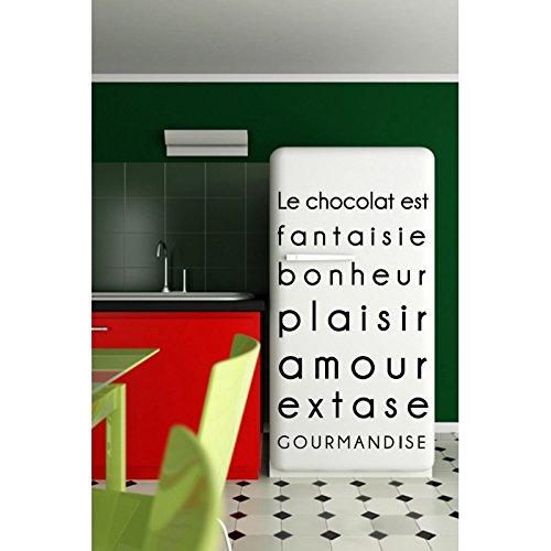 Stickers Citaat op Chocolade Licht Blauw L 100 cm x H 160 cm