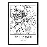 Nacnic Marrakesch Film Stadtplan nordischen Stil schwarz