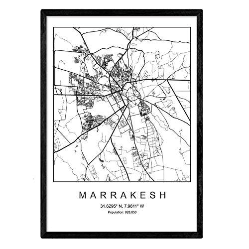 Nacnic Marrakesch Film Stadtplan nordischen Stil schwarz und weiß. A3 Größe Plakat Das Bedruckte Papier Keine 250 gr. Gemälde, Drucke und Poster für Wohnzimmer und Schlafzimmer