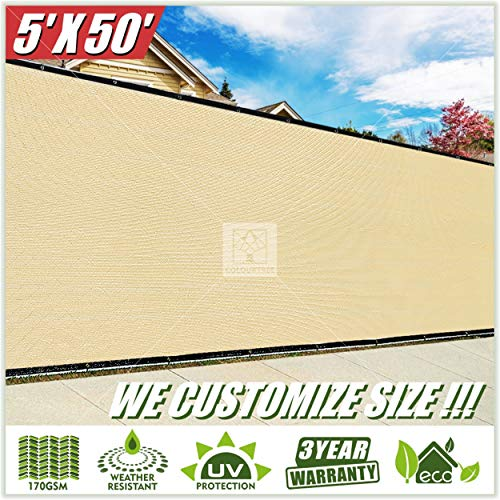 ColourTree 5' x 50' Beige Fence Privacy Screen Windscreen, Commercial Grade 170 GSM Heavy Duty, We Make Custom Size