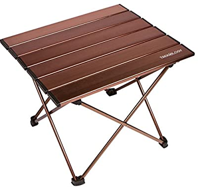 TREKOLOGY Camping/Beach Table with Aluminum Table Top Portable Folding Table in a Bag for Beach, Picnic, Camp, Patio, Fishing, RV, Indoor, Brown Color from