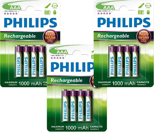 Lot de 12 piles Philips rechargeables AAA HR03 1,2 V 1000 mAh