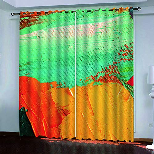 YUNSW 2 Simple Graffiti Perforated Curtains, Blackout Curtains For Living Room, Bedroom, Garden And Kitchen