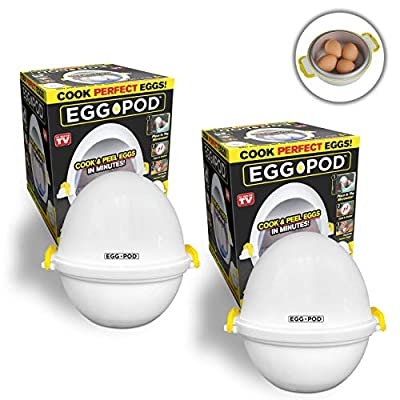 EGGPOD 7076 by Emson Wireless Microwave Egg Maker, Cooker, Boiler & Steamer, 4 Perfectly-cooked Hard boiled Eggs in under 9 minutes As Seen On TV Set of 2