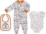 Mini B. by Baby Starters 3-Piece Layette Set with Sleep and Play, Bodysuit and Cloth Bib (Black and White/Little Man Cub, 3-6M)