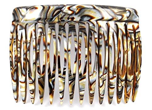 Einsteckkamm 7 cm aus Handfertigung, onyx-silber mit 14 Zähnen