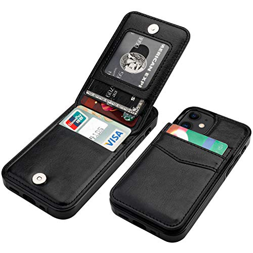 KIHUWEY Compatible with iPhone 12 Mini Case Wallet with Credit Card Holder, Premium Leather Magnetic Clasp Kickstand Heavy Duty Protective Cover for iPhone 12 Mini 5.4 Inch(Black)
