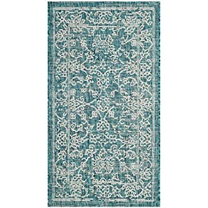 Safavieh Courtyard Collection CY8680 Indoor/ Outdoor Non-Shedding Stain Resistant Patio Backyard Area Rug, 2'7″ x 5′, Turquoise