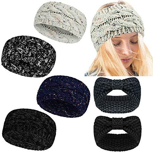 YMHPRIDE 6 paquetes Diademas de invierno para mujer Diademas de tejido de cable grueso calentador de orejas Confeti Crochet Knit Bow Knot Twist Turbante Diadema, Cinta para la cabeza de punto trenzado