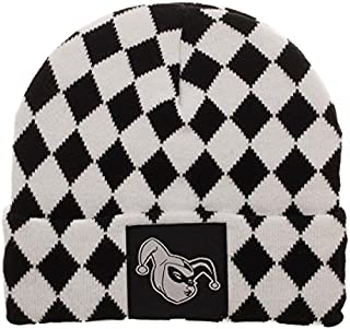 Harley Quinn Black and White Diamond Logo Pattern Soft Winter Knit Hat