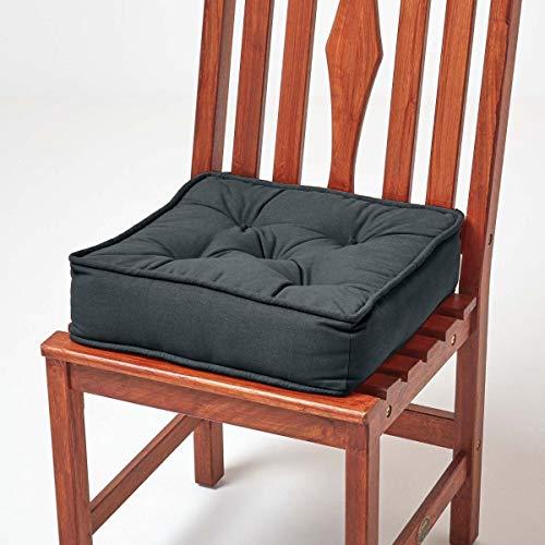 Homescapes gepolstertes Sitzkissen 40 x 40 cm, anthrazit-grau, 10 cm hohes Stuhlkissen mit Bändern, Stuhlpolster/Matratzenkissen für Stühle, Bezug aus 100% Baumwolle