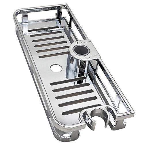 GSDGV - Estantería de baño sin taladrar, soporte de almacenamiento para barra de elevación de cuarto de baño, organizador de soporte de bandeja de baño antibacteriano, para casa, hotel (plata)