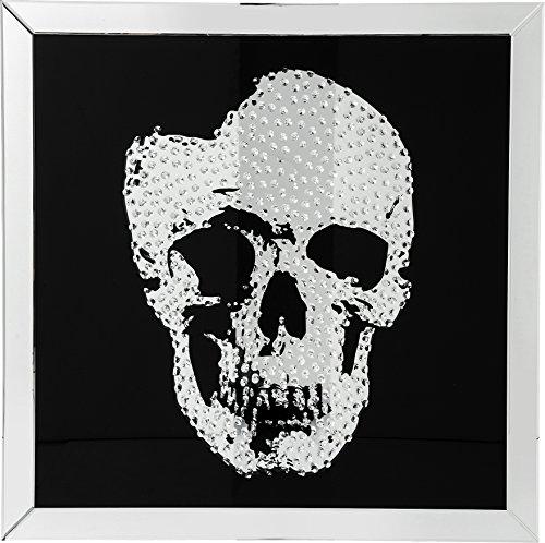 Kare Design Bild Frame Mirror Skull, 100x100cm, Glas, Schwarz, Dekobild, Totenkopfbild, (H/B/T) 4,5x100x100cm