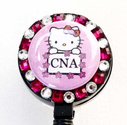 CNA Logo Flower Lined Hello Kitty Rhinestone Retractable Badge Reel/ID Badge Holder