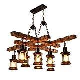 Industrial Vintage Wooden Hanging Pendant Light Fixture, 8 Lights E27 Bulb Farmhouse Chandelier Wood Loft Lantern for Coffee Shop Restaurant Pool Table Kitchen Island Bar