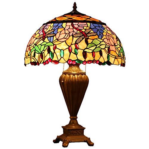 LHFJ Lámpara de Mesa de Estilo Tiffany, 18 Pulgadas, libélula, tulipán, Cuentas de Cristal, Hojas, vidrieras, lámpara de Lectura, Base de aleación Antigua, lámpara de Sala de Estudio
