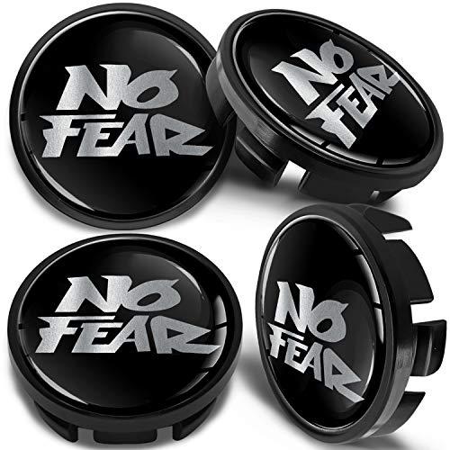 SkinoEu 4 x 65mm Tapas de Rueda de Centro Centrales Llantas Aluminio Compatibles con Tapacubos VW Número de Pieza 3B7601171 / 6U7601171 Negro Plata No Fear CV 18
