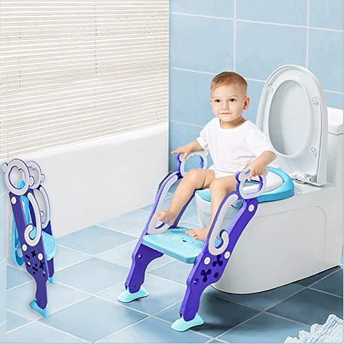 Toilettentensitz kinder, LADUO Kinder Toiletten-Trainingssitz mit rutschfester Trittleiter-Leiter, justierbarer Töpfchen-Sitz mit Schritt, Toilettensitz-Stuhl, für Kleinkinder,und Jungen, Mädchen