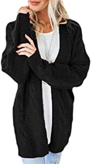Womens Long Sleeve Soft Cable Knit Sweater Open Front Cardigan Outwear