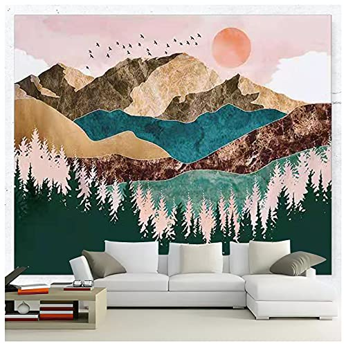QWQHI Wall Tapestry, Nature Tapestry Mountain Sunset Forest Tapestry Wall Hanging for Living Room Bedroom (70.8 x 90.4 inches)